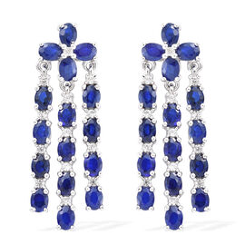Blue Spinel (Ovl), Natural Cambodian Zircon Chandelier Earrings (With Push Back) in Platinum Overlay