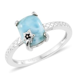 Larimar (Cush), Kanchanaburi Blue Sapphire Ring in Sterling Silver 3.250 Ct.