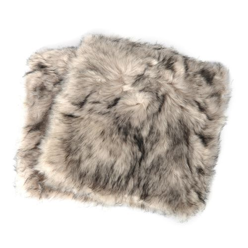 2 Piece Set - Luxury Edition - Long Pile Faux Sheep Skin Cushion Covers (Size 45x45 Cm) Black
