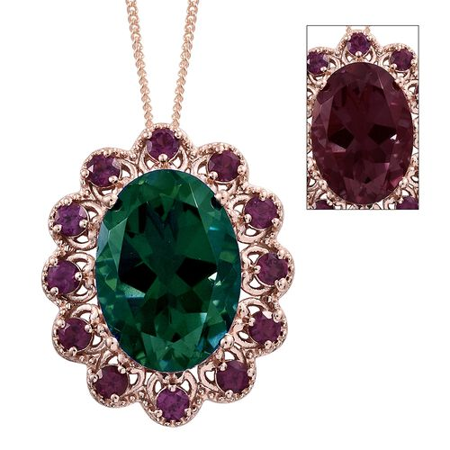 Colour Change Alexandrite Quartz (Ovl 13.50 Ct), Purple Garnet Pendant With Chain in Rose Gold Overlay Sterling Silver 15.250 Ct. Silver wt 6.38 Gms.