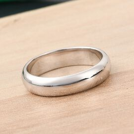 9K White Gold  in Rhodium Overlay Band Ring,  Gold Wt. 4 Gms