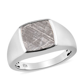 Meteorite Solitaire Ring in Platinum Overlay Sterling Silver 10.25 Ct, Silver wt 5.00 Gms
