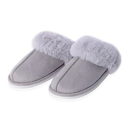 Super Soft Suede Faux Fur Slippers (Size M: 5-6 ) - Grey