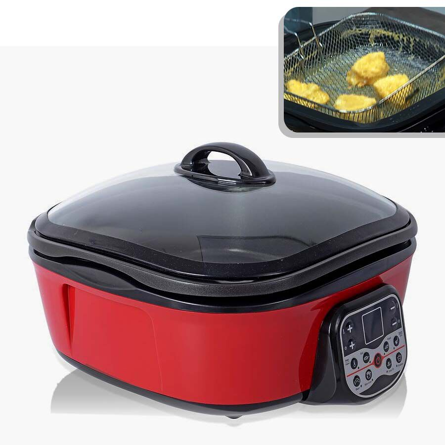 Black//Red Colour 8 in 1 Multi-Function Electric Cooker 5L with Free Accessories