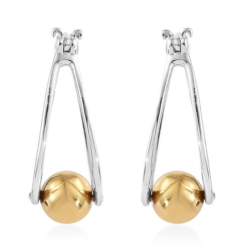 Designer Inspired- Platinum Overlay Sterling Silver Ball Drop Earrings (with Clasp Lock)