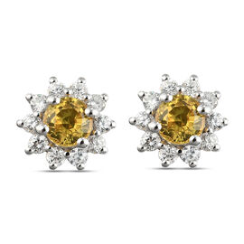 Yellow Sapphire and Natural Cambodian Zircon Stud Earrings (with Push Back) in Platinum Overlay Ster