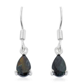 One Time Deal-Spectrolite (Pear) Hook Earrings in Sterling Silver 1.500 Ct.