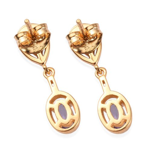 AAA Tanzanite and Natural Cambodian Zircon Dangle Earrings (with Push Back) in 14K Gold Overlay Sterling Silver 1.00 Ct.