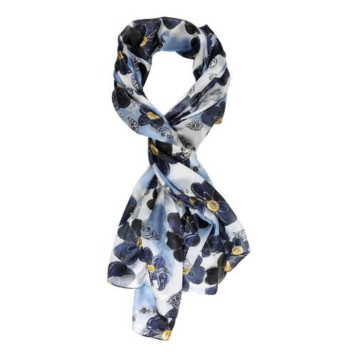 LA MAREY Pure 100% Mulberry Silk Flower Pattern Scarf  (Size 180x110cm) - Blue
