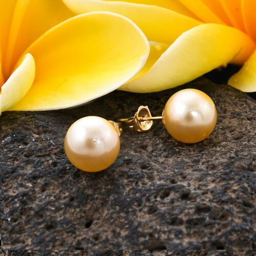 ILIANA 18K Yellow Gold Golden South Sea Pearl Stud Earrings (with Push Back)