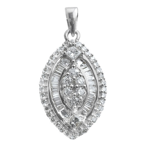 Signature Collection ILIANA 18K White Gold IGI Certified Diamond (GH SI to I1) Pendant 0.500  Ct.