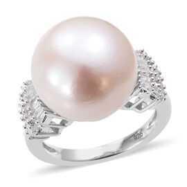Extremely Rare Size Perfect Round Edison Pearl (Rnd 14-15 mm), Diamond (Rnd 0.33 Cts) Ring in Platinum Overlay Sterling Silver