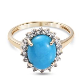 9K Yellow Gold AAA Arizona Sleeping Beauty Turquoise and Natural Cambodian Zircon Ring 2.75 Ct.