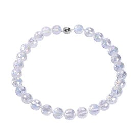 Simulated White Topaz Beaded Necklace (Size 20 with Magnetic Lock) in Stainless Steel