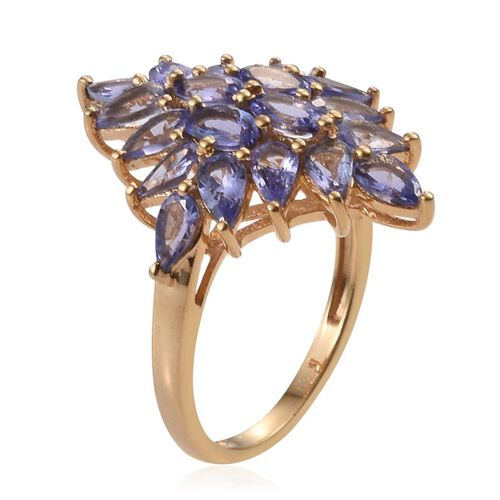 Tanzanite (Ovl) Cluster Ring in 14K Gold Overlay Sterling Silver 4.500 Ct.