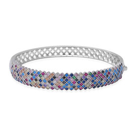 ELANZA Multi Colour Simulated Diamond (Rnd) Bangle (Size 7) in Rhodium Overlay Sterling Silver, Silv
