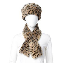 Brown Colour Leopard Skin Pattern Faux Fur Scarf and Hat (Size 36.22x22.84x4.53 Cm)
