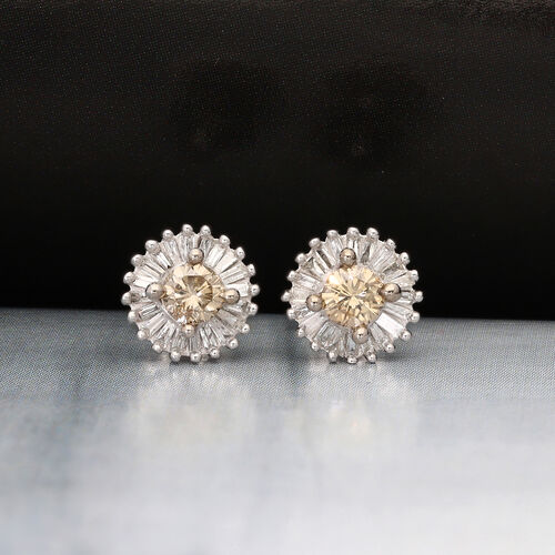 9K White Gold SGL Certified Natural Champagne and White Diamond Stud Earrings (with Push Back) 0.50 Ct.
