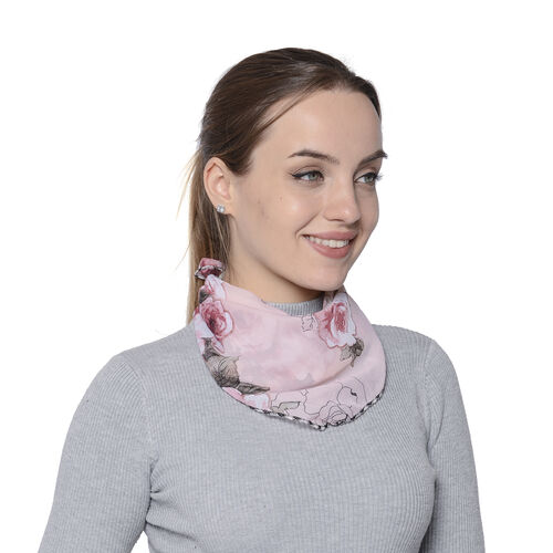 2 in 1 Flower Pattern Chiffon Soft Feel Scarf and Protective Face Covering (Size 45x45 Cm) - Red and Pink