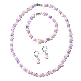 3 Piece Set - Amethyst and White Freshwater Pearl Beads Necklace (Size 18), Bracelet (Size 8) and Le