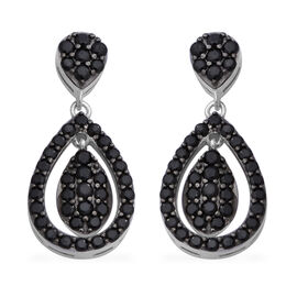 Boi Ploi Black Spinel (Rnd) Drop Earrings (with Push Back) in Rhodium Overlay Sterling Silver 1.73 C
