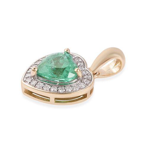 ILIANA 14K Yellow Gold AAA Boyaca Colombian Emerald (Hrt) Diamond (I2/G-H) Heart Pendant 1.430 Ct.