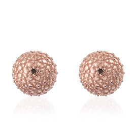 Red Diamond (Rnd) Ball Stud Earrings (with Push Back) in Platinum Overlay with Rose Gold Plating Ste