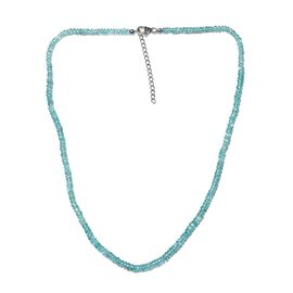 Paraiba Apatite (Rnd) Adjustable Beads Necklace (Size 18 with 1.5 inch Extender) in Sterling Silver