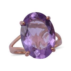 Rose De France Amethyst Ring in Rose Gold Overlay Sterling Silver 11.09 Ct.
