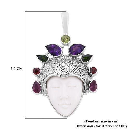 Sajen Silver - Craved Ox-Bone, Pink Amethyst, African Ruby, Peridot and Multi Gemstone Face Pendant in Sterling Silver 5.66 Ct.
