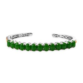 20.50 Ct Green Jade Cuff Bangle in Platinum and Gold Plated Silver 18.40 Grams 7.5 Inch