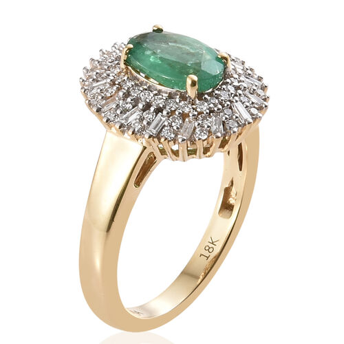 Super Auction - ILIANA 18K Y Gold AAA Kagem Zambian Emerald (Ovl 1.15 Ct) and Diamond (SI/G-H) Ring 1.50 Ct., Gold wt 5.68 Gms.