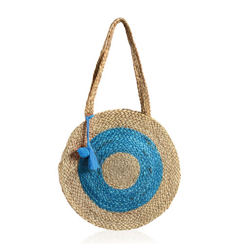100% Natural Jute Turquoise and Natural Colour Circle Pattern Bag in Round Shape