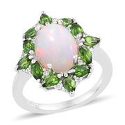 2.75 Ct Ethiopian Opal, Russian Diopside and Cambodian Zircon Halo Ring in Sterling Silver