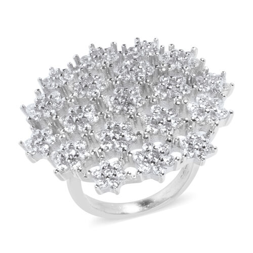 ELANZA Simulated Diamond (Rnd) Constellation Ring in Rhodium Overlay Sterling Silver, Silver wt 9.70