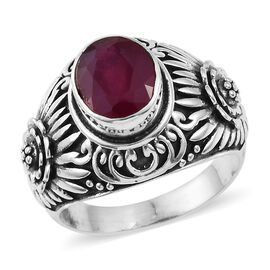 3.73 Ct African Ruby Filigree Solitaire Ring in Sterling Silver 7.97 Grams