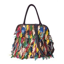 100% Genuine Leather Multicolour Leaf Applique Tote Bag with Detachable Shoulder Strap and Zip Closu