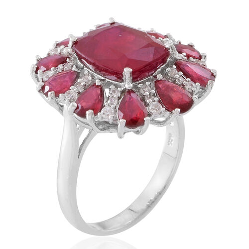Red Carpet Collection- African Ruby (Cush 7.90 Ct), Natural White Cambodian Zircon Ring in Rhodium Plated Sterling Silver 14.000 Ct.