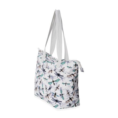Water Resistant Dragonfly Pattern Large Weekend Bag (Size 47x33x32x14.5 Cm).