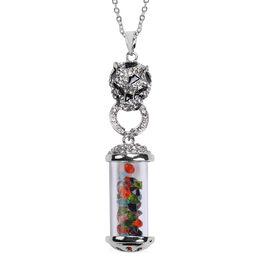 Multi Colour Austrian Crystal Enamelled Pendant With Chain in Silver Tone