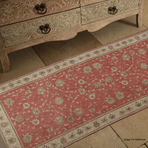 Premium Jacquard Woven Cotton Chenille Area Rug in Red and Multi Colour (Size 80x240 cm)