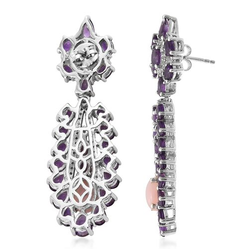 Art Deco - Peruvian Pink Opal, Amethyst and Natural Zircon Dangle Earring in Platinum Plated Sterling Silver 11.75 Ct. Silver 11.39 Grams with 162 Gemstones