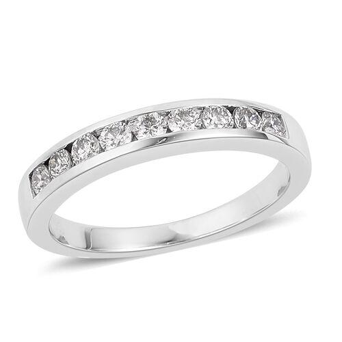 RHAPSODY 950 Platinum IGI Certified Diamond (Rnd) (VS/E-F) Half Eternity Band Ring 0.500 Ct. Platinum wt 5.74 gms