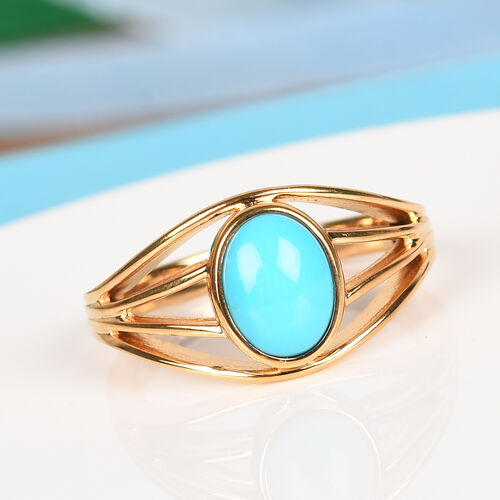1.25 Ct Arizona Sleeping Beauty Turquoise Solitaire Ring in Gold Plated Sterling Silver