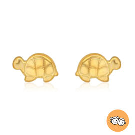 Turtle Stud Earrings for Children in 9K Yellow Gold