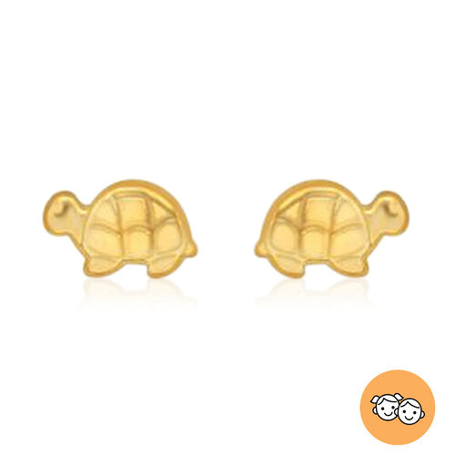 Turtle Stud Earrings for Children in 9K Yellow Gold