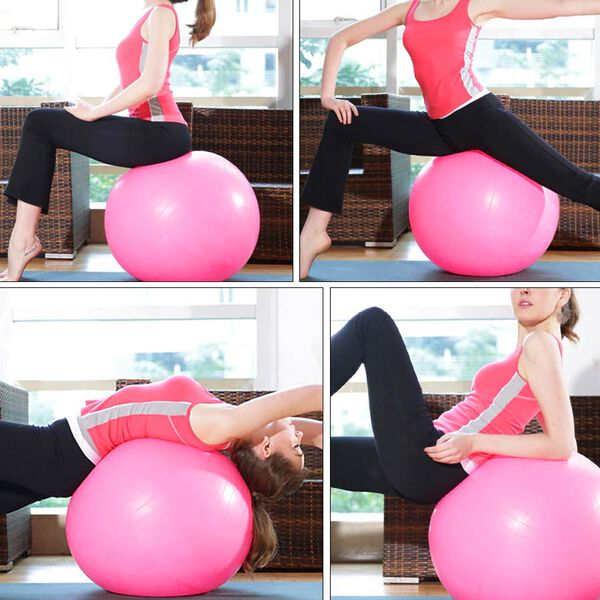 Exercise Yoga Balance Ball - Pink - puncture proof with foot pump