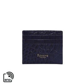 Assots London FANN Croc Embossed Genuine Leather RFID Credit Card Holder (Size 10x8.5cm) - Navy
