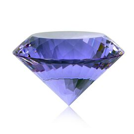 TJC Exclusive Diamond Cut Amethyst Glass Crystal (Size 8x5cm) in a Gift Box