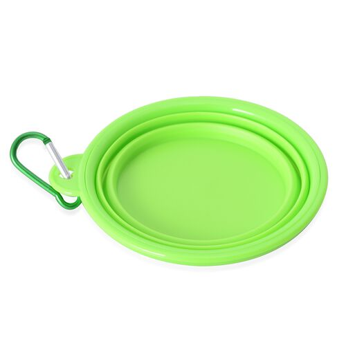 Pet Accessories Set of 3- Green Colour Dog Frisbee, Squeeze Water Bottle and Foldable Silicon Bowl  with Hook